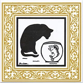 product image for CAT TILE - CAT WALL PLAQUE - CAT TRIVETS WITH GOLD VICTORIAN BORDER: CA-7G