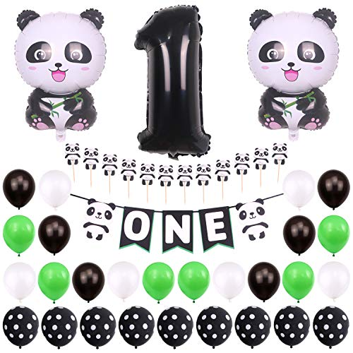ONINIT Panda Themed First 1st Birthday Girls Boys Party Decoration Set Include Handmade Panda ONE Highchair Banner and Panda Shaped Cupcake Toppers with Panda Balloons