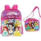 "Disney Princesses 16"" Embossed Backpack with Matching Insulated Lunch Tote"