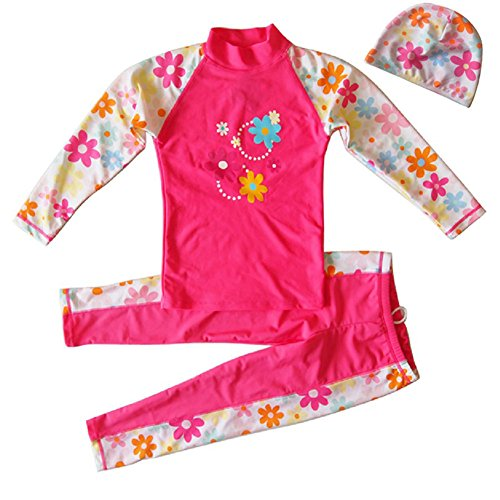 Banner Bonnie Toddler Girl Lycra Long Sleeve 2-Pieces Sun Protective Rashgurad Wetsuit with Swim Cap Set Pink 3-4 Years