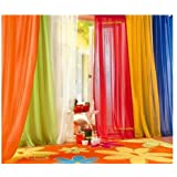 6 Piece Rainbow Sheer 63-inch SHORT Window Panel Curtain Set Blow Out Pprice Special!!!! Lime, Orange, Burgundy, White, Bright Yellow, Navy