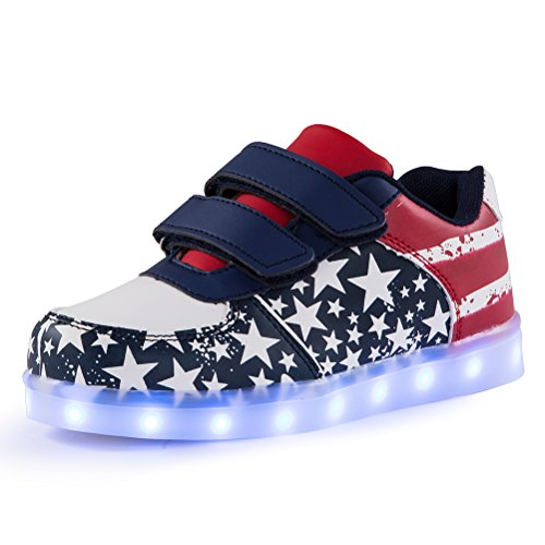 Kids LED Light Up shoes American Flag Stars Stripes Printed Lighting Low-Top Sneakers for Boys and Girls(blue,US9.5/CN27)…