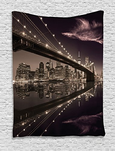 Ambesonne Landscape Tapestry, Brooklyn Bridge Sunset NYC View Skyline Tourist Attraction Modern City, Wall Hanging for Bedroom Living Room Dorm, 60 W X 80 L inches, Pale Brown Dried Rose