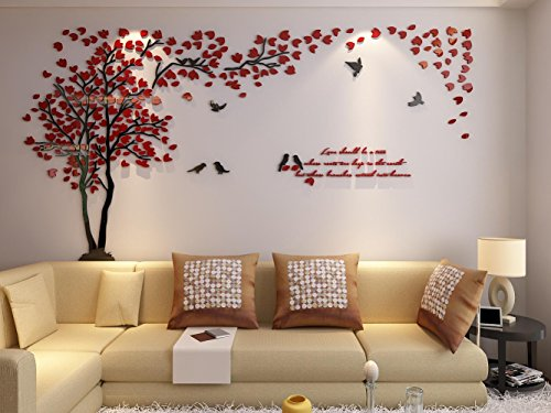 3d Couple Tree Wall Murals for Living Room Bedroom Sofa Backdrop Tv Wall Background, Originality Stickers Gift, DIY Wall Decal Home Decor Art Decorations (Large, Red) by Hermione Baby (Image #5)