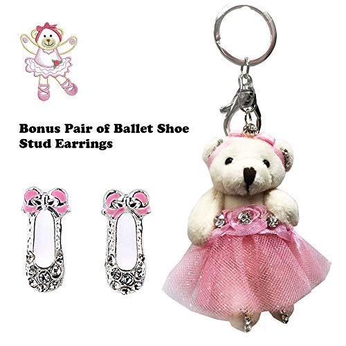 DIYJewelryDepot TM: Ballerina Ballet Dancing Teddy Bear in Pink Dress Rhinestones Key Chain Plush Studded Keychain Accessories for Bags Bonus Bundle Ballet Shoes Rhinestone Stud Earrings