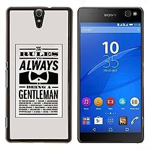 Always Be Gentleman Bowtie Retro Clever- Metal de aluminio y de plástico duro Caja del teléfono - Negro - Xperia C5 E5553 E5506 / C5 Ultra
