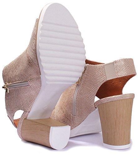 Justin Reece 7620 - Sandalias de Vestir de Piel Para Mujer dorado