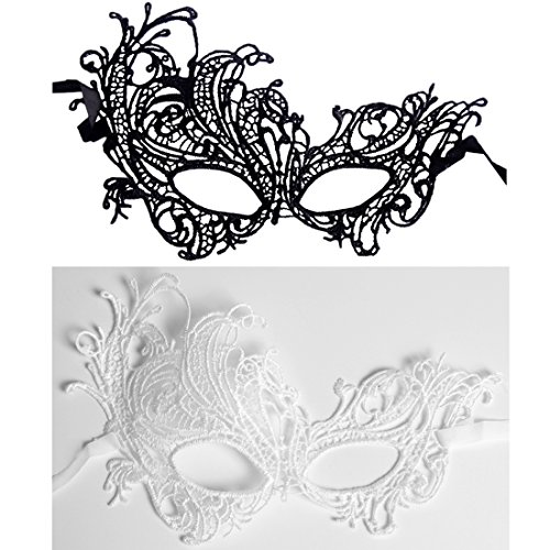 [Andux Land Sexy Lace Mask with straps Fancy Halloween Party Masquerade Bar Nightclub queen Dance Mysterious Soft for eyes for Women and Girl LSMJ-01 white] (Soft And Sexy Mask)