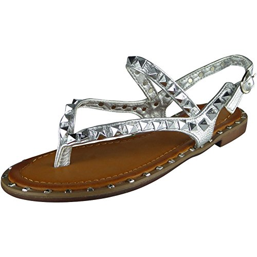 Ladies Studded Strappy Toe-Post Summer Gladiator Sandals Size 3-8 Silver