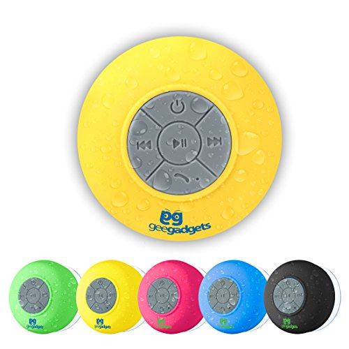 Portable Bluetooth Shower Speaker With Suction Cup   Waterproof  Built In Mic  Universal Phone   Tablet Compatibility   Yellow   By Gee Gadgets