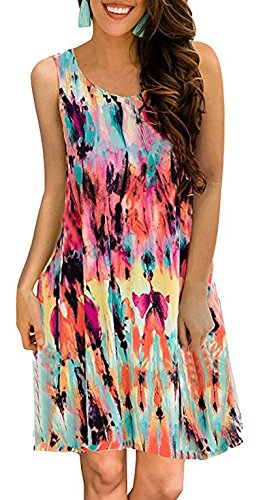 YeeATZ Women's Summer Casual Sleeveless Floral Printed Swing Dress Sundress with Pockets Multicoloured ()