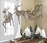Set of 3 Eco Country Natural Wicker Reindeer & Sleigh Christmas Figures 84''