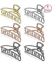 6 Piezas de Clips de Pelo de Agarre de Metal Grandes Antideslizantes para Mujeres Niñas Hebillas de Pelo para Sujetar Pelo