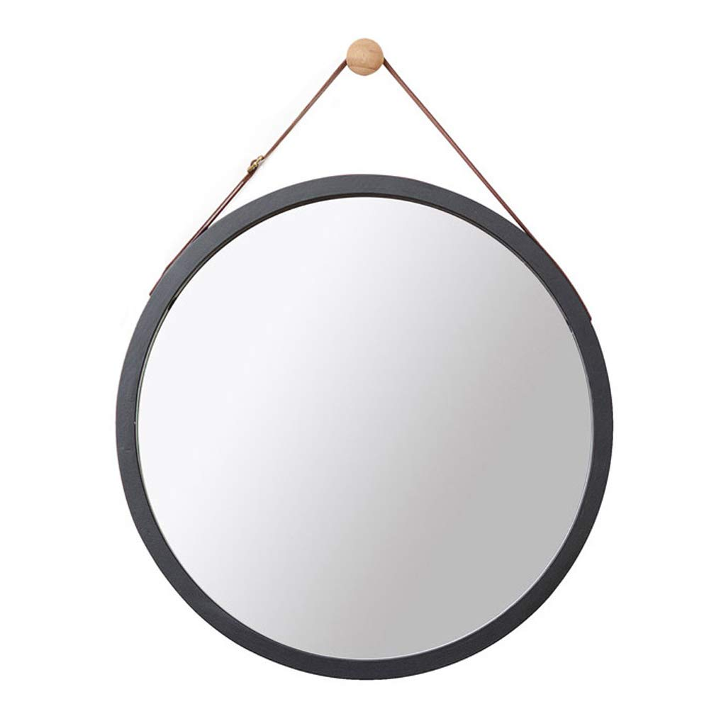Wall Round Mirror with Adjustable Faux Leather Hanging Strap|Bamboo Framed|Bathroom Wall-Mounted Vanity Mirrors Make-up Cosmetic Wall Hanging Mirror (Color : Black, Size : 45cm)