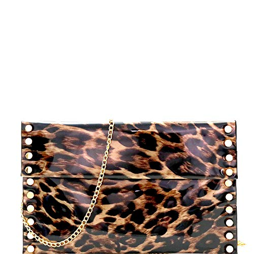 (Leopard Tiger Print PU Leather Suede Clear Envelope Flap Slim Large Clutch Purse with Chain Strap)