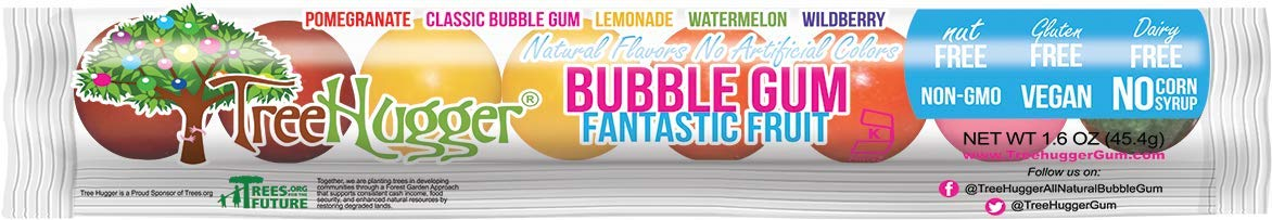 Tree Hugger All Natural Bubble Gum, Fantastic Fruit, 1.6 Ounce (Pack of 12) by Tree Hugger