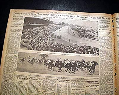 WAR ADMIRAL Horse Racing Wins Kentucky Derby 1st of TRIPLE CROWN 1937 Newspaper THE NEW YORK TIMES, sport's section only, May 9, 1937