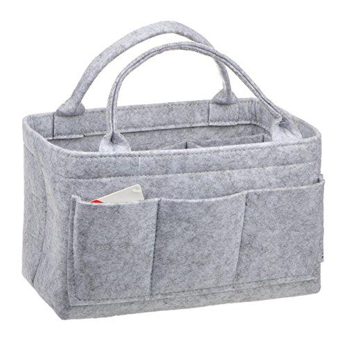 Vercord Felt Purse Organizer,4 Size Multicolor Durable Insert Shaper 12 Pockets Grey L (Multi Color Purse Handbag)
