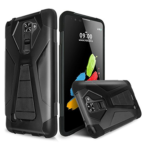 Black Silicone Cell Phone Case (LG K8 V (2016) Case, TJS® Dual Layer Hybrid Shock Absorbing Impact Resist Rugged Drop Protection Case Cover with Kickstand with Silicone Inner Layer For LG K8 V / LG)