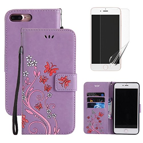 for iphone 5C Wallet Case and Screen Protector,OYIME [Butterfly Flower Embossed] Pattern Design Leather Holder Full Body Protection Bumper Kickstand Card Slot Function Magnetic Closure Flip Cover with Wrist Lanyard - Purple
