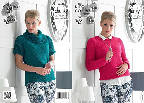 King Cole Ladies Sweaters Glitz Knitting Pattern 4086 Chunky