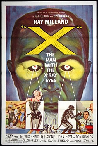 X THE MAN WITH THE X-RAY EYES ROGER CORMAN SCI-FI ORIGINAL 1963 TRI-FOLDED ONE SHEET 27X41 MOVIE POSTER
