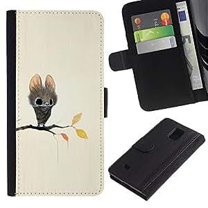 KLONGSHOP / Tirón de la caja Cartera de cuero con ranuras para tarjetas - Bat Cartoon Fairy Tale Cute Big Eyes Animal - Samsung Galaxy Note 4 SM-N910