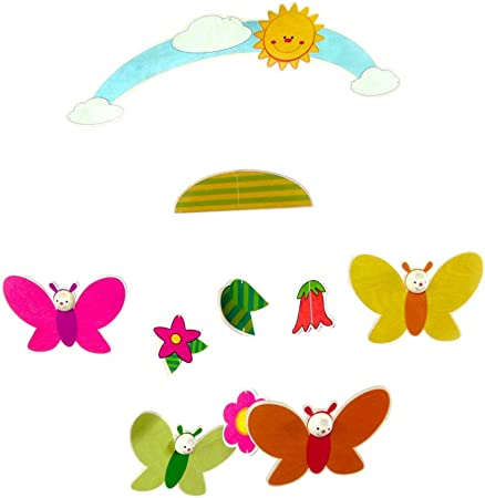 25 x 40 cm Multi-Color Hess Wooden Mobile Butterflies Baby Toy