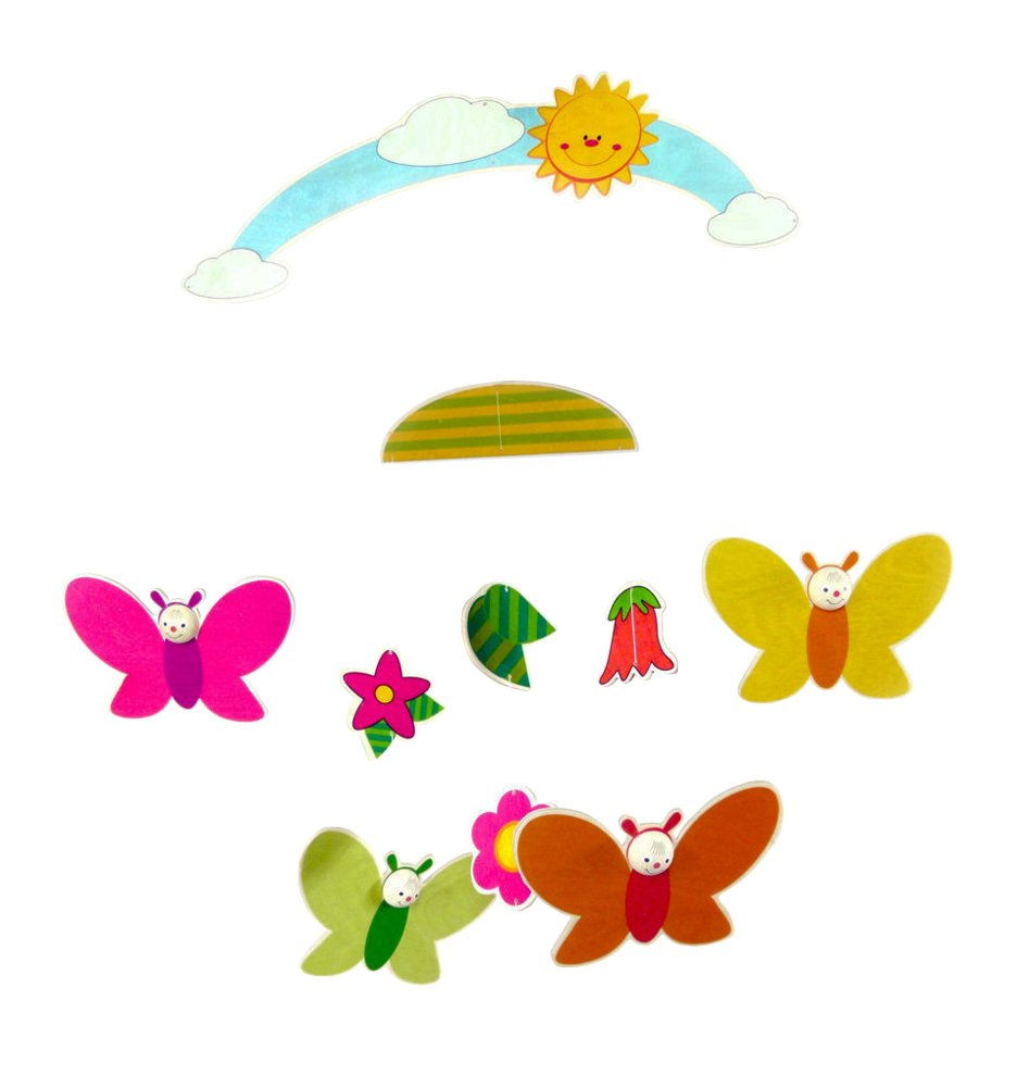 Hess Wooden Mobile Butterflies Baby Toy, 25 x 40 cm, Multi-Color Hess_10267