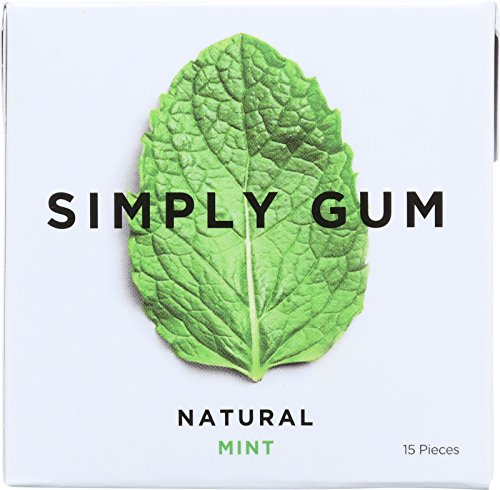 Simply Gum All Natural Gum – Mint – Pack of 12 – 15 Count