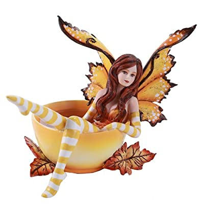 Amy Brown Autumn Comfort Cup Fairy Fantasy Art Figurine Collectible 4.75 inch