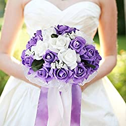 vLoveLife Wedding Bouquet White & Lavender Artificial Rose Flowers Bridal Bridesmaid Bouquets Handmade Posy Pearl Rhinestone Ribbon Decor