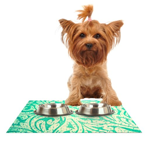 Kess InHouse Alveron Spring Paisley  Feeding Mat for Pet Bowl, 18 by 13-Inch