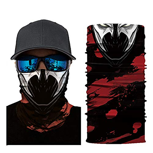 3D Face Shield Skull Face Mask Skull Mask 2019 Improved Headwear Headband Magic Scarf Seamless Bandana for Men Women Running, Fishing, Hiking, ()