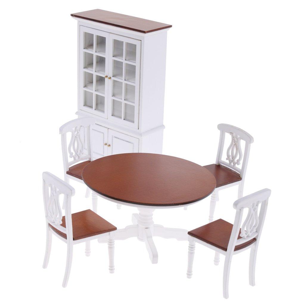 B Blesiya Casa Bambole Miniatura Arredonnato Sala Da Pranzo Tavolo Armadio Sedile Decorazione Domestica Legno Bianco Marronee
