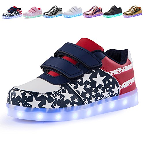 Voovix Kids LED Light Up Shoes USA American Flag Printed Star Strips Patterned Flashing Low-Top Sneakers for Boys and Girls Child Unisex(25 EU/7.5 M US Toddler)