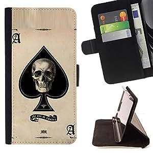 """Bright-Giant (Ace Espadas Cráneo Negro Tarjetas de Poker"""") Modelo Colorido Cuero Carpeta Tirón Caso Cubierta Piel Holster Funda Protección Para Samsung Galaxy Note 4 IV"""