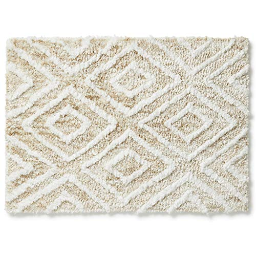 Americanflat Soft and Absorbent Tufted Bath Mat – 17×24 Inches – Diamond Pattern – Natural Beige – Anti-Skid Bottom