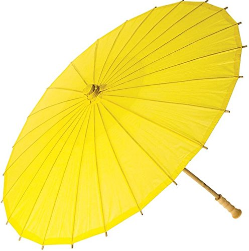 Luna Bazaar Paper Parasol (20-Inch, Buttercup Yellow) - Chinese/Japanese Paper Umbrella - For Children, Decorative Use, and DIY Projects