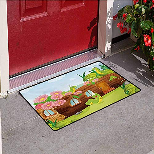 Jinguizi Kids Inlet Outdoor Door mat Cute Friendly Smiling Worms in Wooden Tree House Animal Image Catch dust Snow and mud W15.7 x L23.6 Inch Chocolate Sky Blue and Apple Green