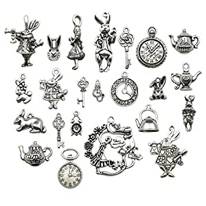 40pcs Antique Silver Alice in Wonderland Fairy Tales Tea Party Steampunk Victorian Necklace Bracelet Charms (M077)