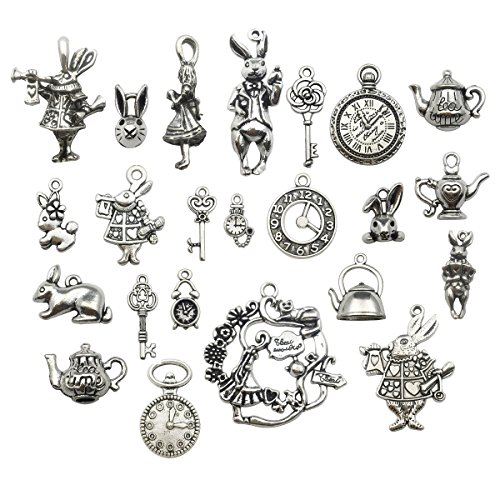 40pcs Antique Silver Alice in Wonderland Fairy Tales Tea Party Steampunk Victorian Necklace Bracelet Charms (antique silver)