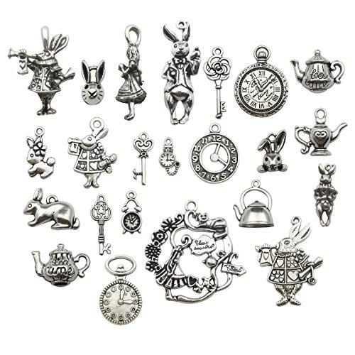 (40pcs Antique Silver Alice in Wonderland Fairy Tales Tea Party Steampunk Victorian Necklace Bracelet Charms (antique silver))