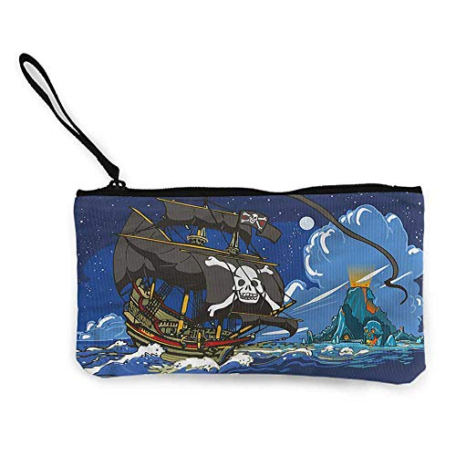Coin purse wallet Pirate,Caribbean Waters Adventure,Canvas Pencil Pen Case W 8.5