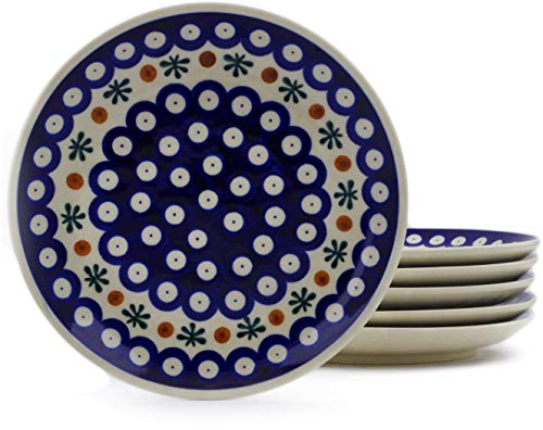 Polish Pottery Set of 6 dessert plates (Mosquito Theme) + Certificate of Authenticity