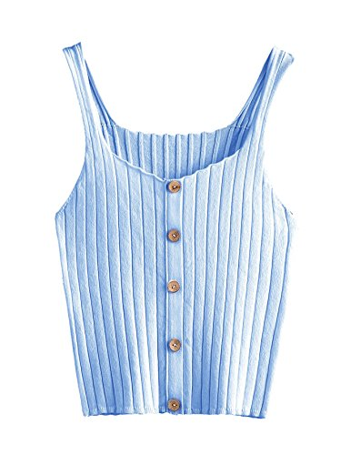 SweatyRocks Women's Sleeveless Vest Button Front Crop Tank Top Ribbed Knit Belly Shirt Blue#1 One Size