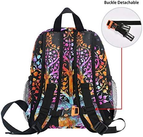 黒のカラフルな象アート幼児バックパックブックバッグミニショルダーバッグ1-6年旅行男の子女の子子供用チェストストラップホイッスル