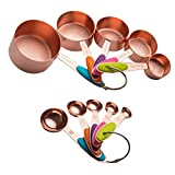 stainless steel bake ware set - Copper Stainless Steel Measuring Cups and Spoons Set of 10 | Liquid Measuring Cups and Liquid Measuring Spoons or Dry Measuring Cups and Dry Measuring Spoons | Stackable, Nesting Measuring Cups Set