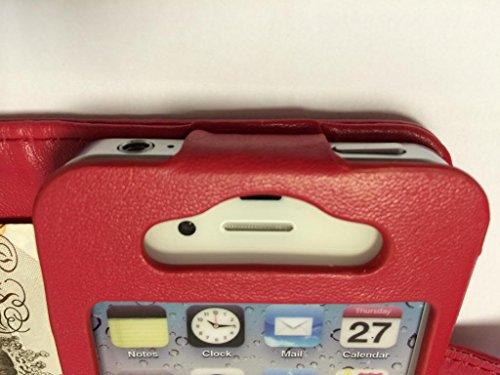 Buona qualità Wallet per iPhone 4 4S rosso con due fessure per carta PU Leather Case Cover per Apple iPhone 4 4S