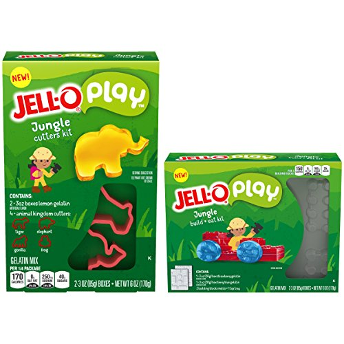 - JELL-O Play Jungle Build + Eat & Cutters Gelatin Dessert Kits (6 oz Boxes, Twinpack)